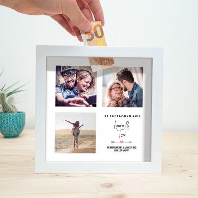 Cadeau met naam - Personaliseerbare spaarpot voor bruiloft
