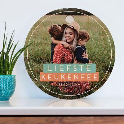 Moederdag cadeau - Ronde personaliseerbare snijplank met foto en tekst