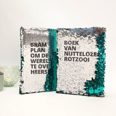 Plezier op kantoor - Personaliseerbaar pailletten notitieboek