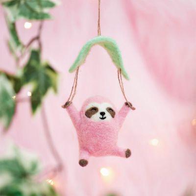 Kerstversiering - Roze luiaard met parachute