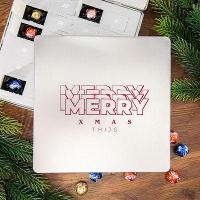 Snoepgoed - Adventskalender – Pralinen metalen doos met tekst