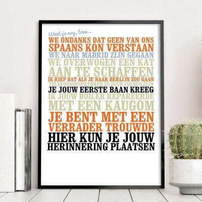 Decoratie - Weet je nog, toen... - personaliseerbare poster