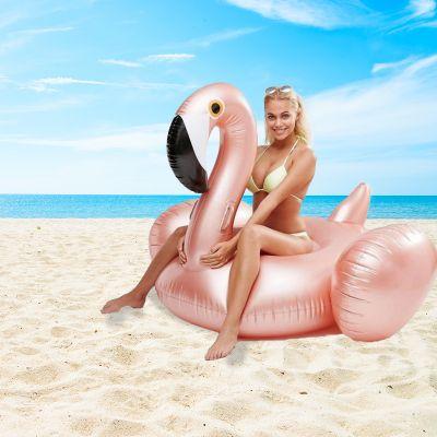 Zwembad Accessoires - Opblaasbare Reuzen Flamingo in Rosé Goud