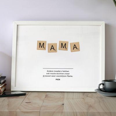 Moederdag cadeau - Personaliseerbare poster scrabble