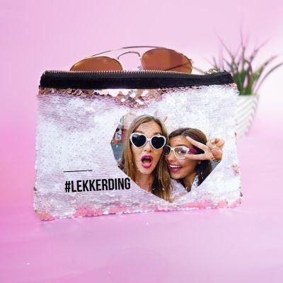Back to school cadeaus - Personaliseerbare pailletten clutch met afbeelding en tekst