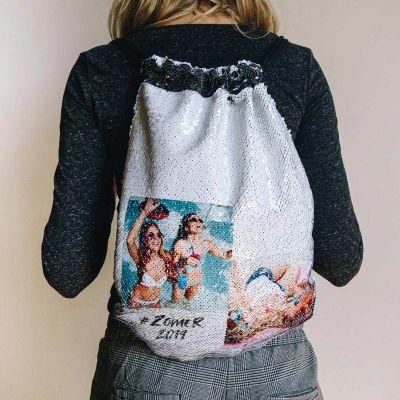 Back to school cadeaus - Personaliseerbare pailletten-turntas met 2 foto's en tekst