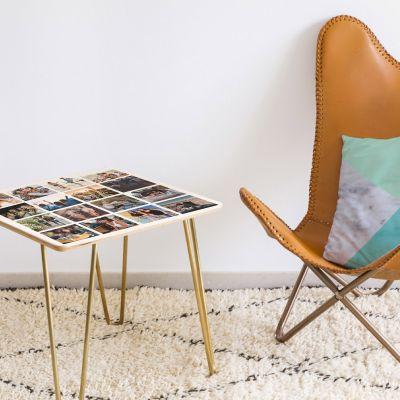Exclusieve producten - Personaliseerbare houten tafel met 16 foto's