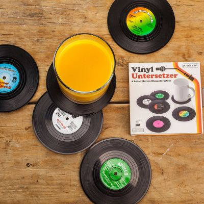 Cadeau voor broer - Vinyl Elpee onderzetters – set van 6
