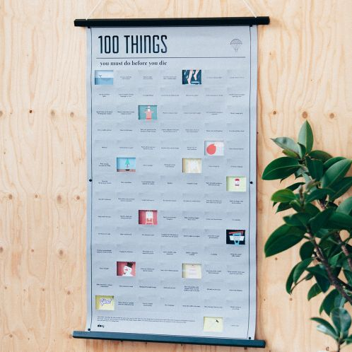 Verjaardagscadeau - Poster met 100 dingen die je nog in je leven moet doen