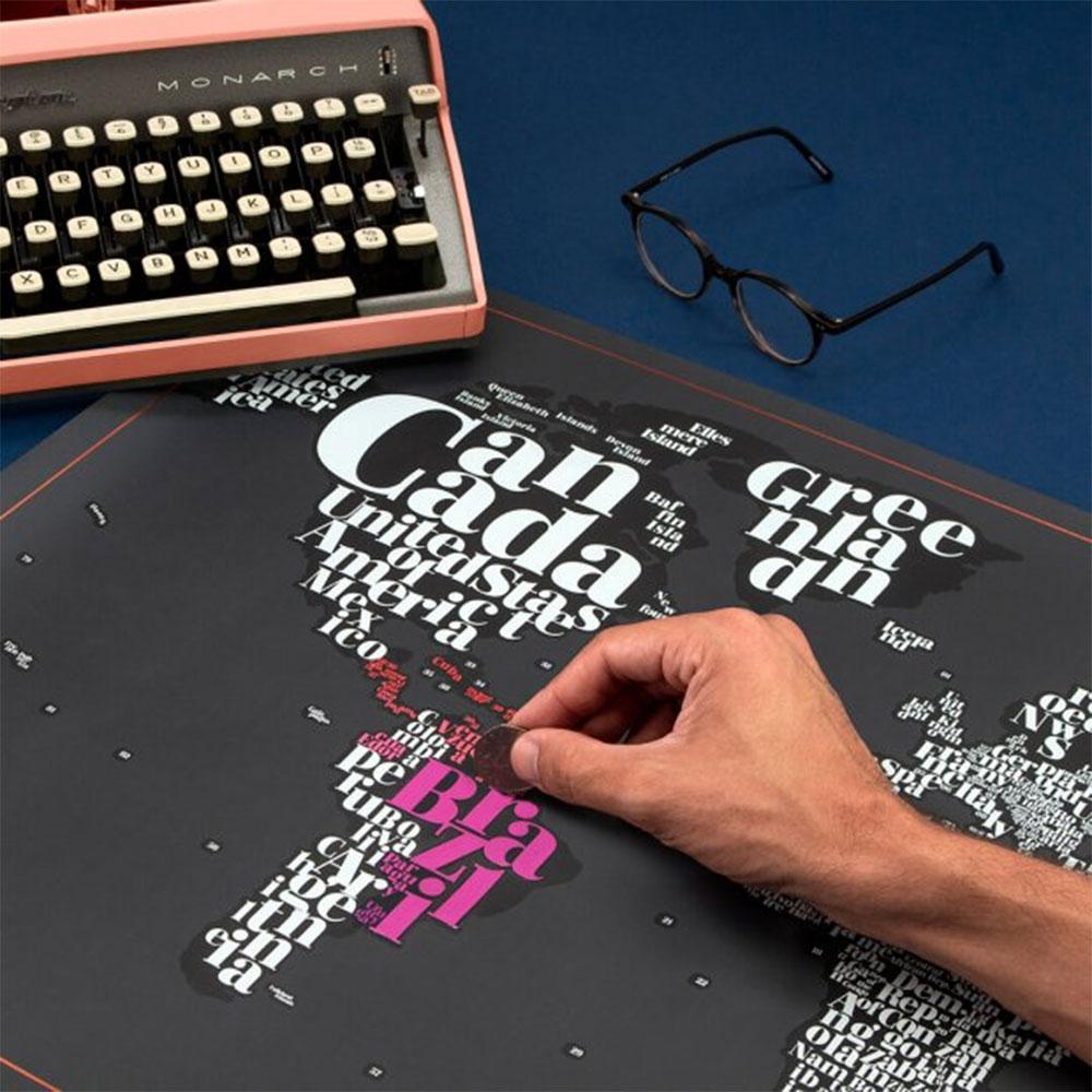 Kras Wereldkaart Typogeography