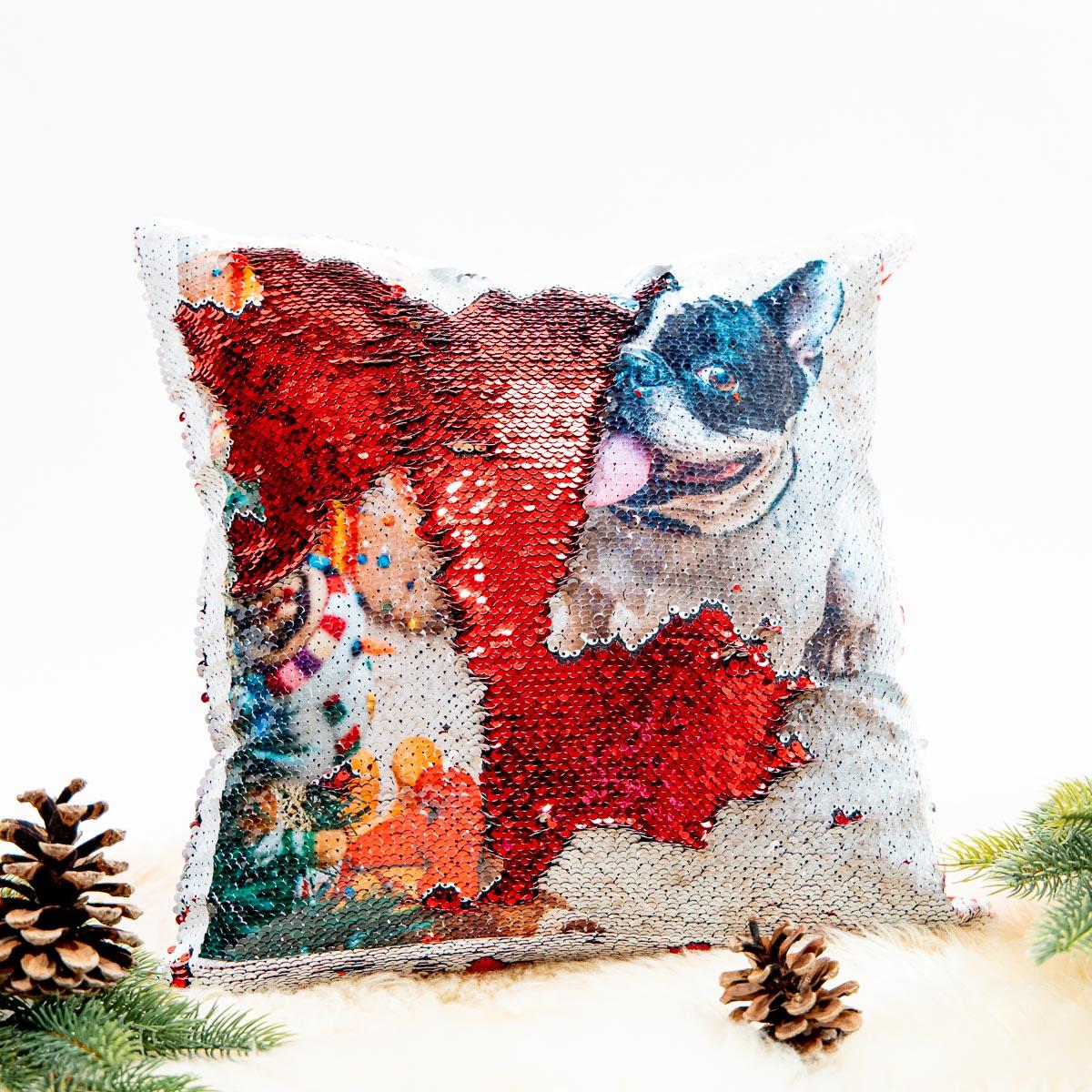 Huisdieren cadeau personaliseerbaar glitterkussen met huisdier