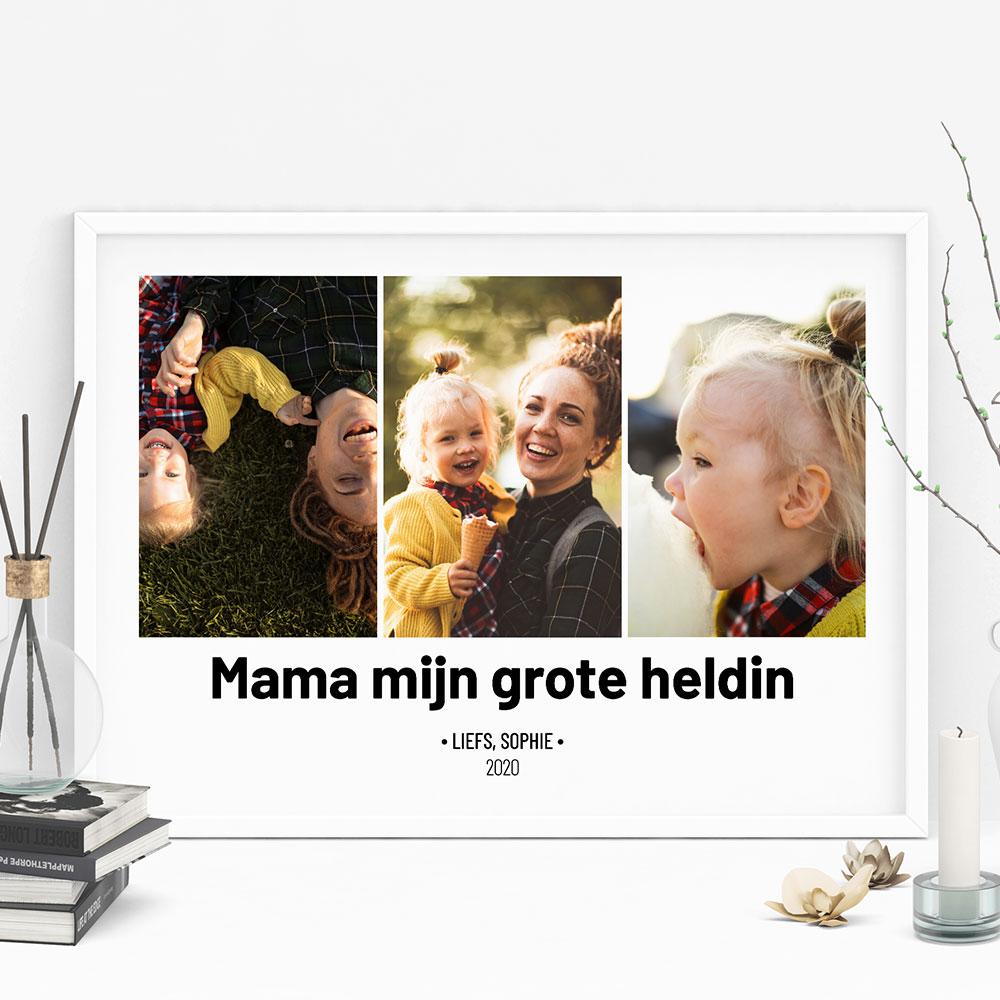Moederdag cadeau personaliseebare poster met foto